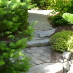 granite rock intermingled with pavers