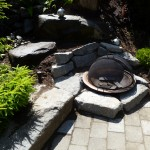 Pavers with inset fire pit